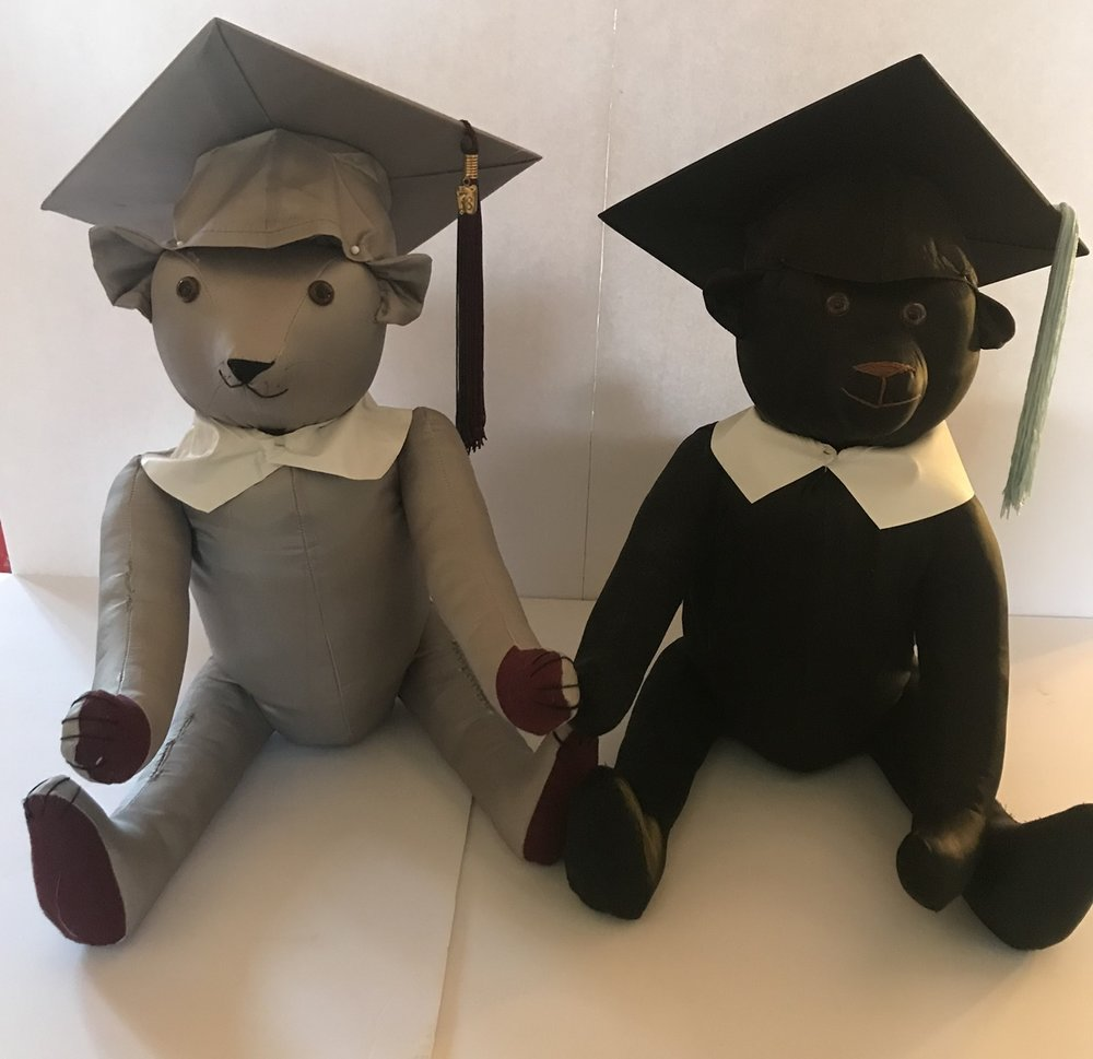 Sue provided his high school college graduation robes. These are the bears we made for from them.