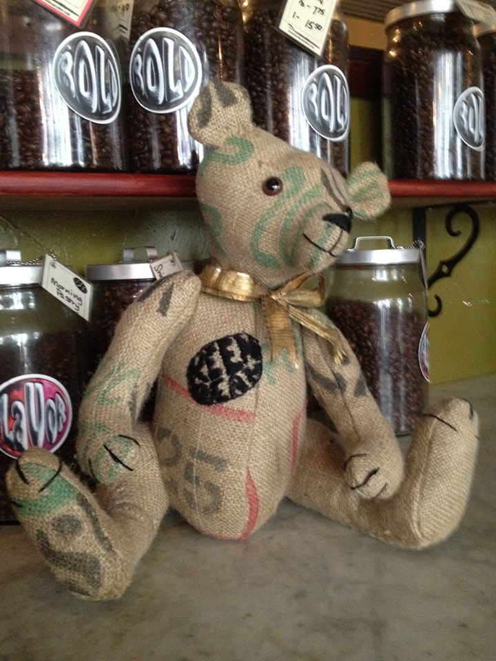 KeenBean. Made from a coffee shipping bag for our frinds at The KeenBean Coffee Roasting Co and Shop in Mt Vernon, MO.