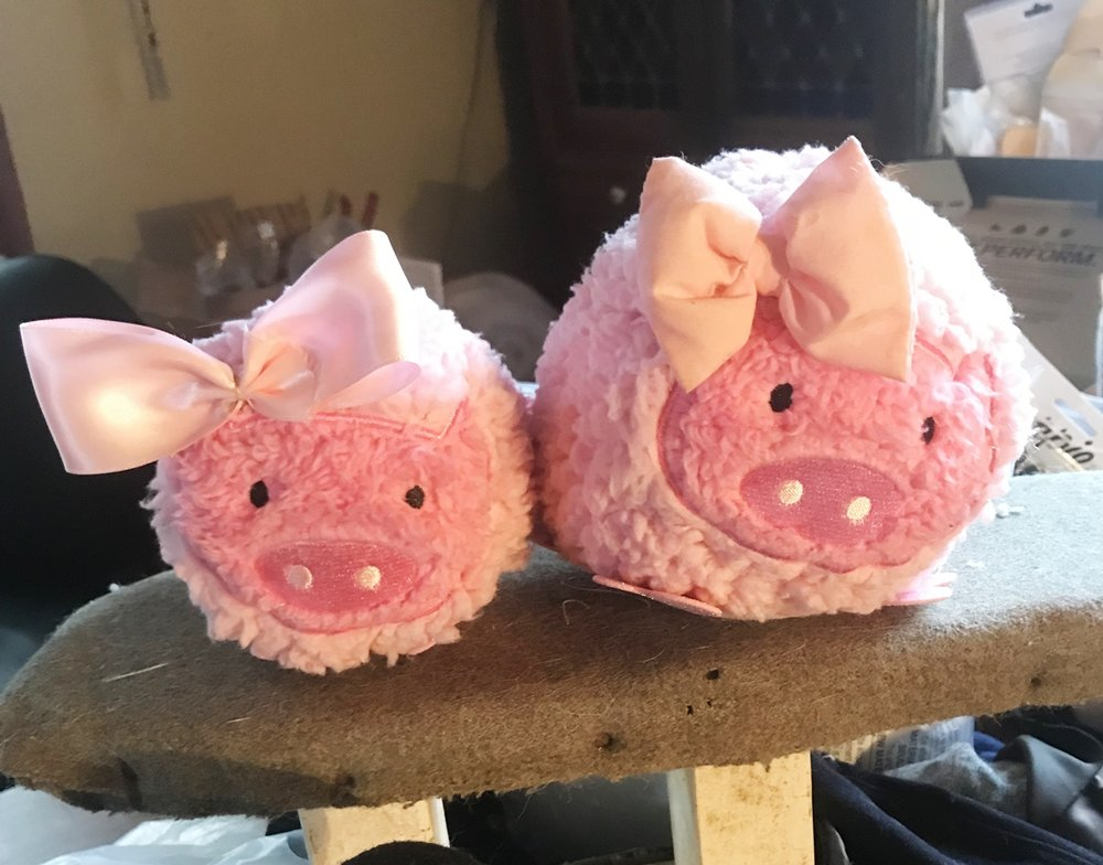 Stearnsy pink pigs made from old slippers.