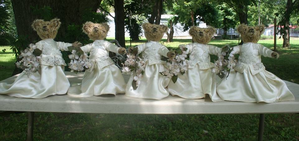 5 small brides in wedding dressess Vicky made from the original wedding gown. 2015. 5 pictures.