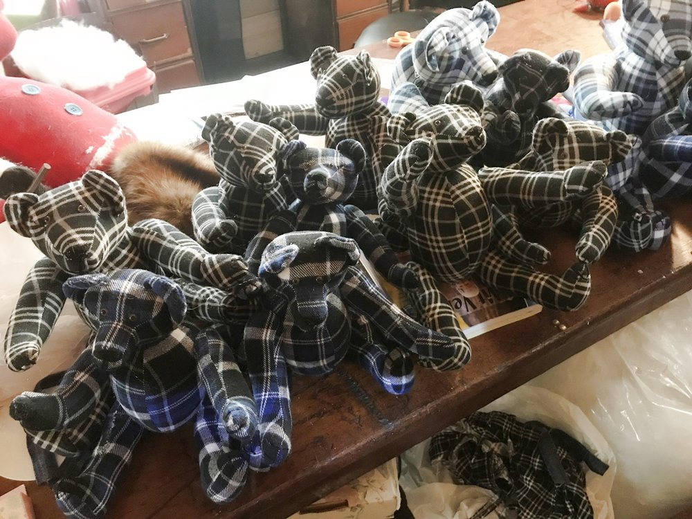 "A 15 bear order for Christmas 2018. 13 10"" tall bears and 2 12"" tall bears. Made from 4 flat material shirts."