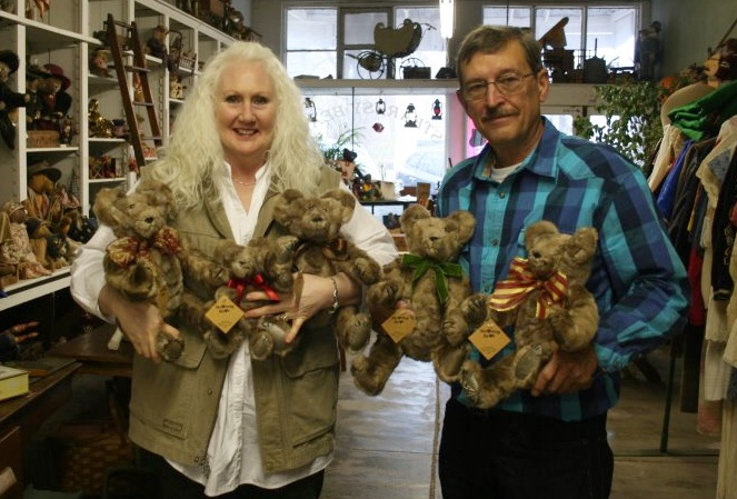 "We made these 5 bears for debbie from her mother's vintage fur coat. 5 16"" size bears and 1 10"" size."