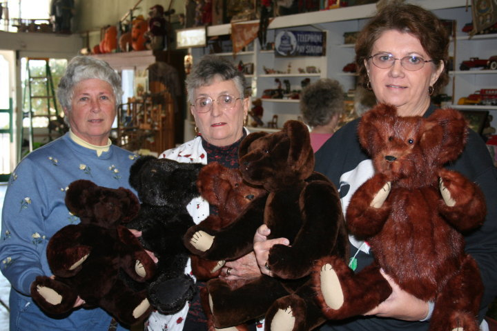 5 bears made from 3 different fur coats.