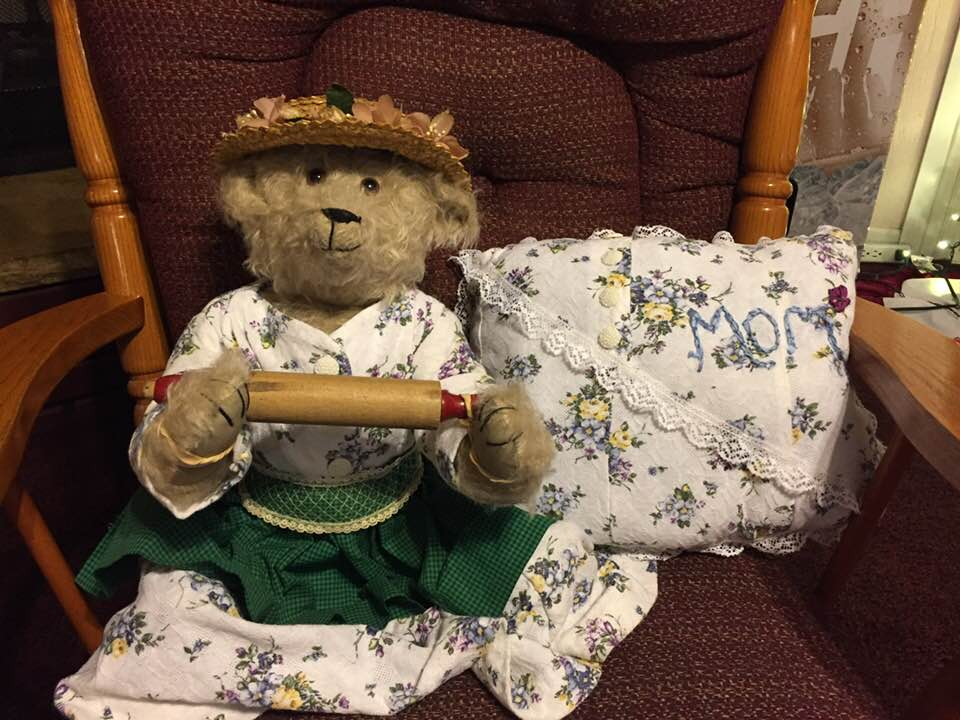 "Meet ❤️""Mary Lou Bear"". She is so special. She is the best pie maker in the world and has a heart of gold. She is wearing a dress made from a dress worn to her Grandson's (Travis Dole) wedding. I had this bear specially made by Stearnsy Bears in Stott's City, MO. Thank you Vicki and Charles Stearns for a great job. 2017."