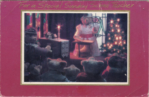 Carlton Cards Christmas Card featuring the Stearnsy Bears. 1980s.
