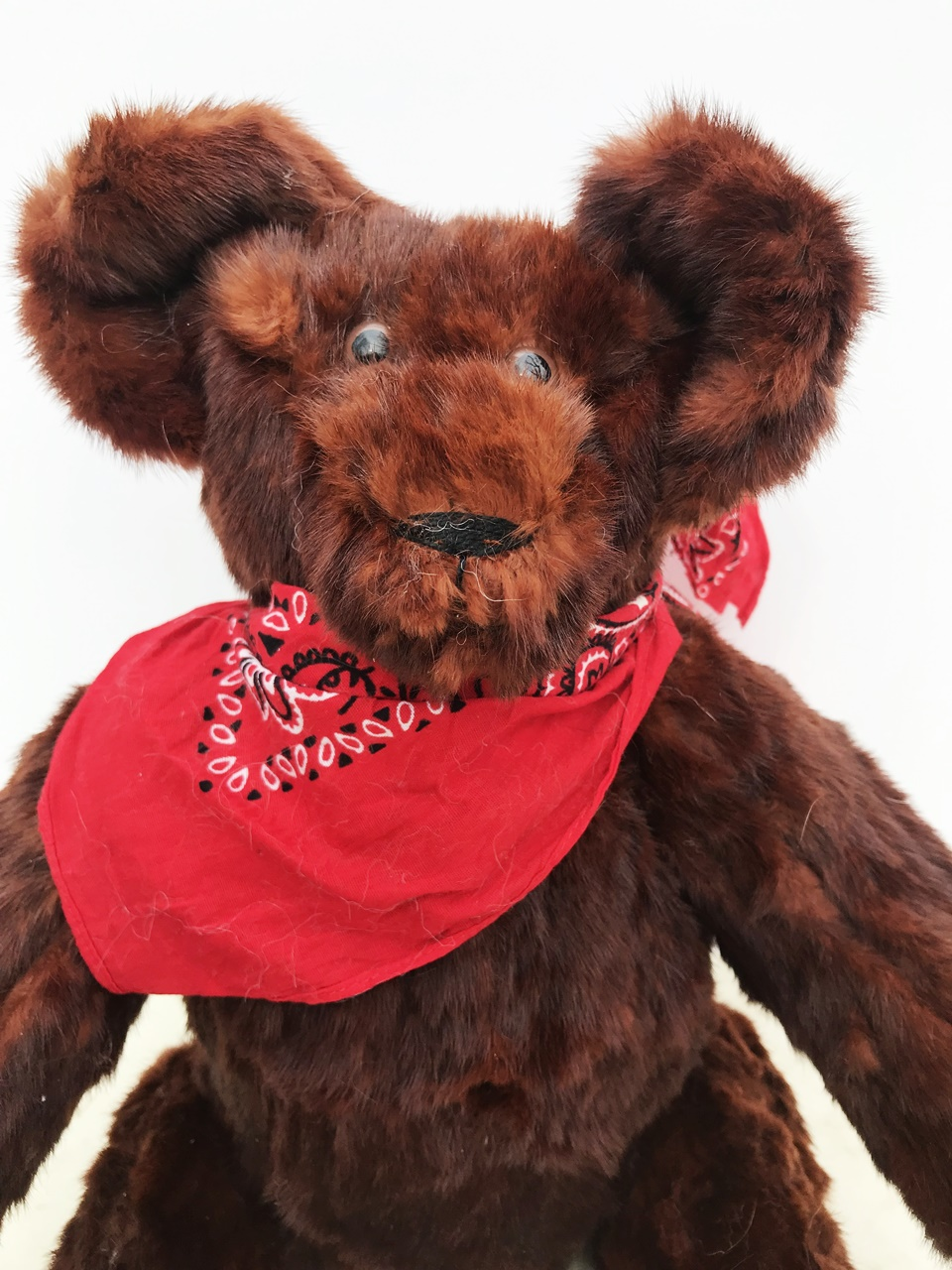 """Old Red Ben. Picked this vinatge fur jacket at The Hope Center. We had a better end in mind for it. He's a 16"""" tall bear. $195 plus shipping. 417-285-3201."""