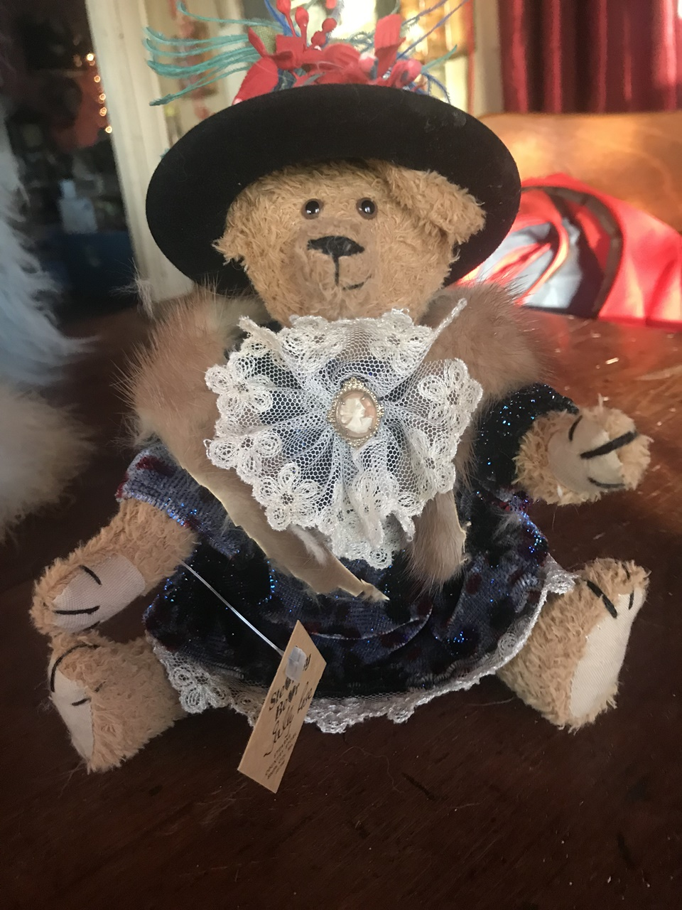 "Sally Rose. ""The Mayor's Wife."" 8"" inch bear. Sweet outfit. Always one of a kind. $95 + shipping."