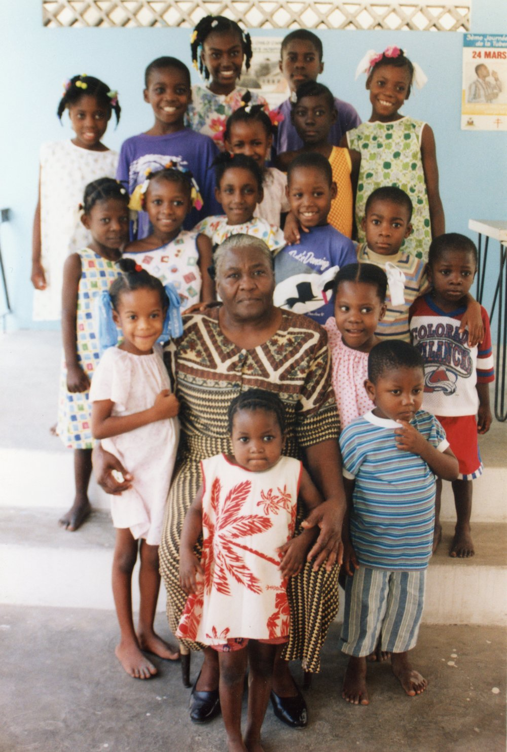 Gregory with some of his new-found family at Grace Children's Hospital in 1998