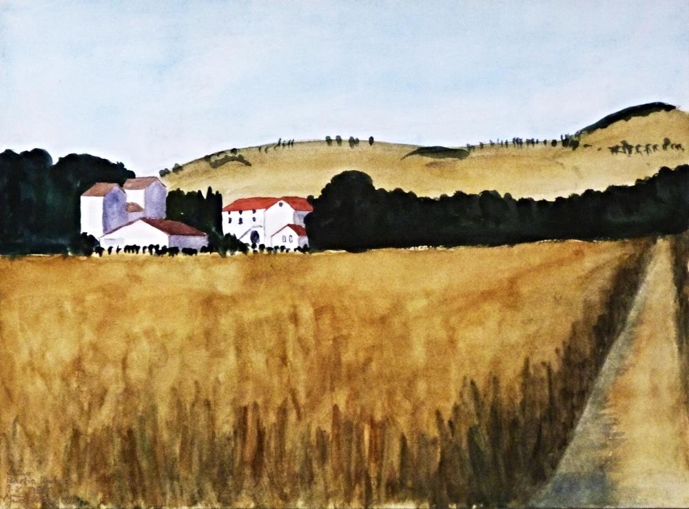 Vicino Bastia Umbria, 1987. Aquarell. 46 x 62cm