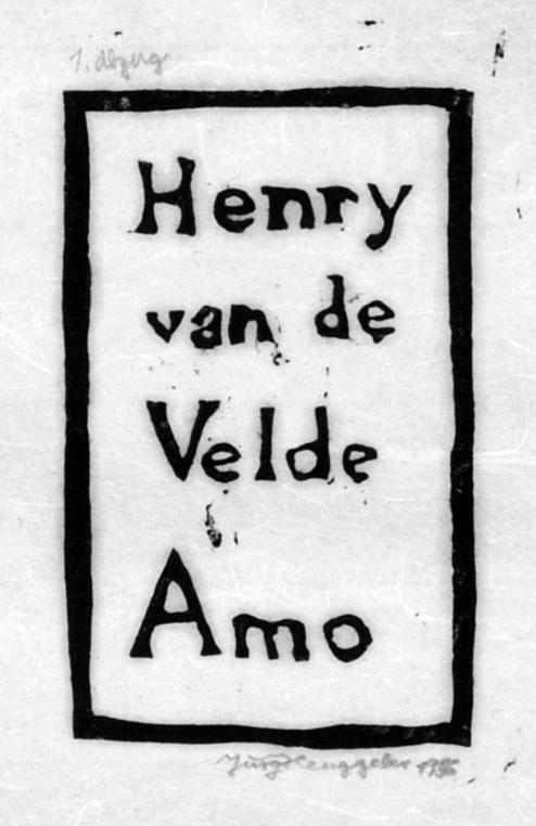 Henry van de Velde amo, 1955. Coverpage