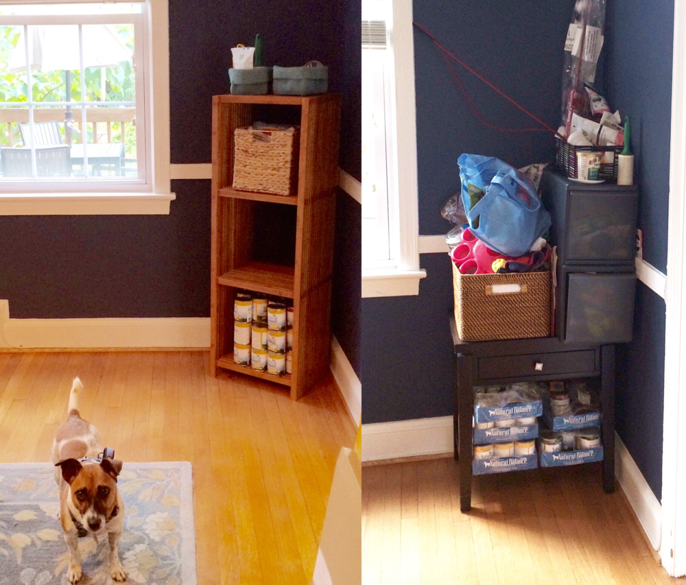 After & Before, respectively. I constructed two of the shelves featured in the left photo and ditched the toys Schroeder no longer (or never) enjoyed. If it doesn't bring him joy, it doesn't stay!