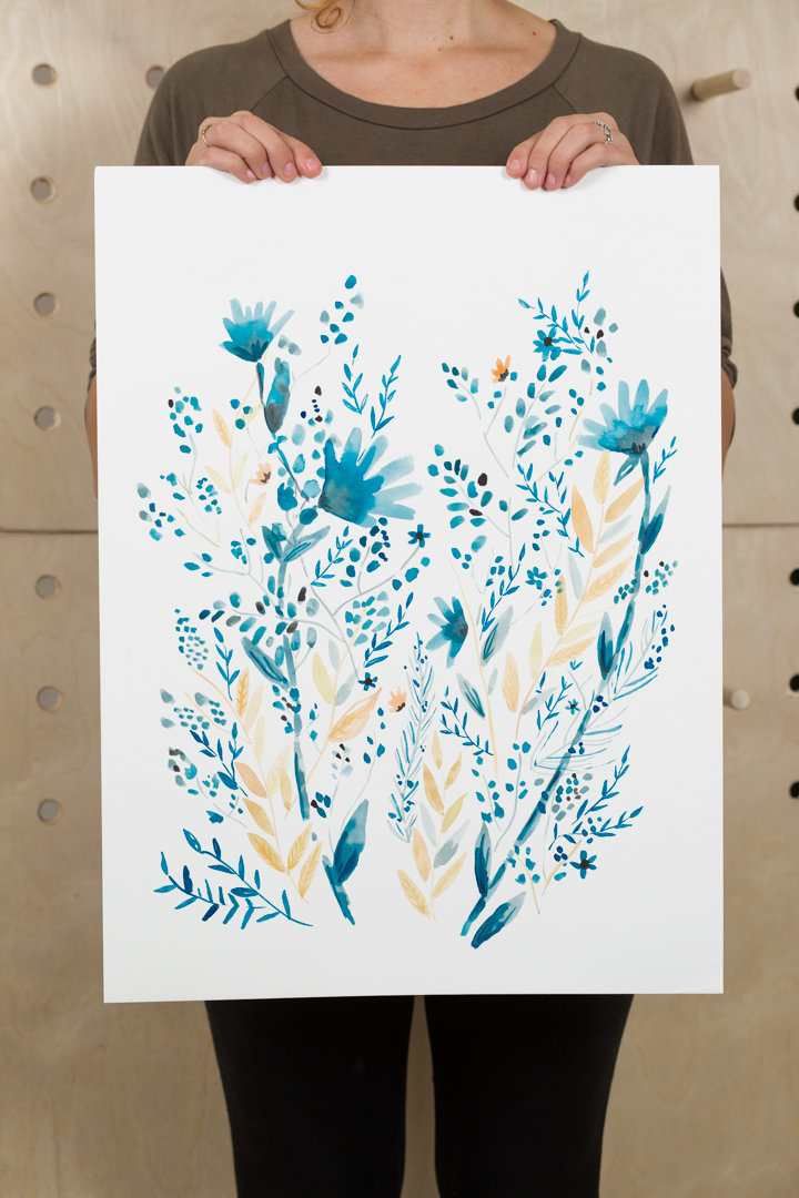 blue floral watercolor