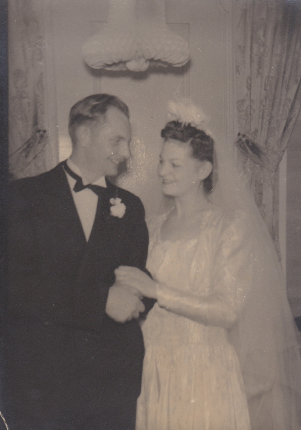 Wilbur and eleanor on their wedding day, 1942.