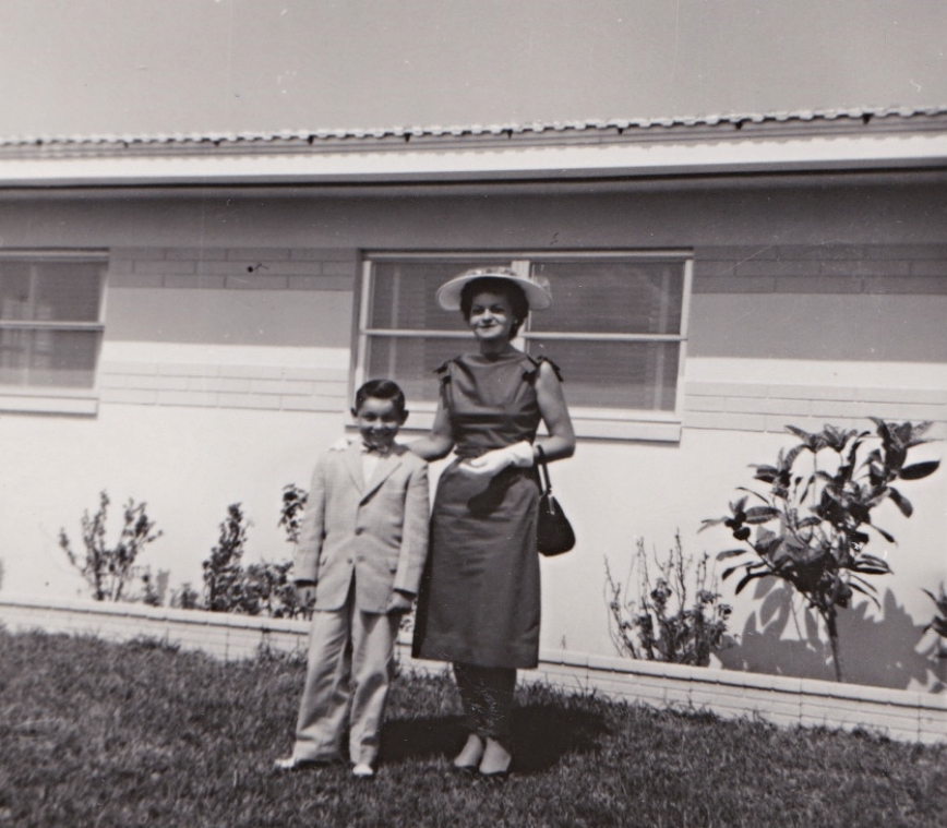 Eleanor and her son, my Uncle Jimmy, on Easter sunday 1960. I like to think my mom is not pictured because she was still rejoicing over her found pet mouse.