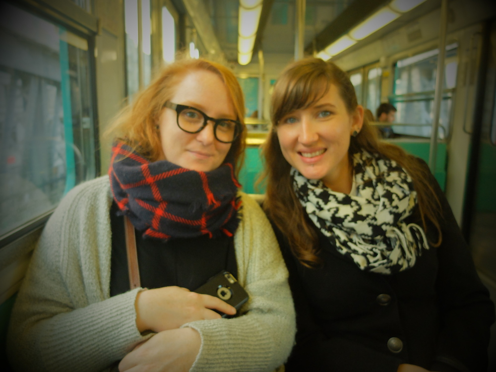 On the metro, with an accidental and irreversible filter with Kate.