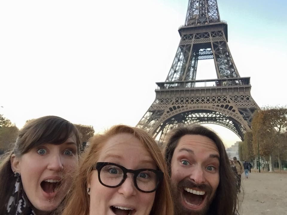 Judson and lacey were much less enthralled with the eiffel tower than me, Kate, and john.