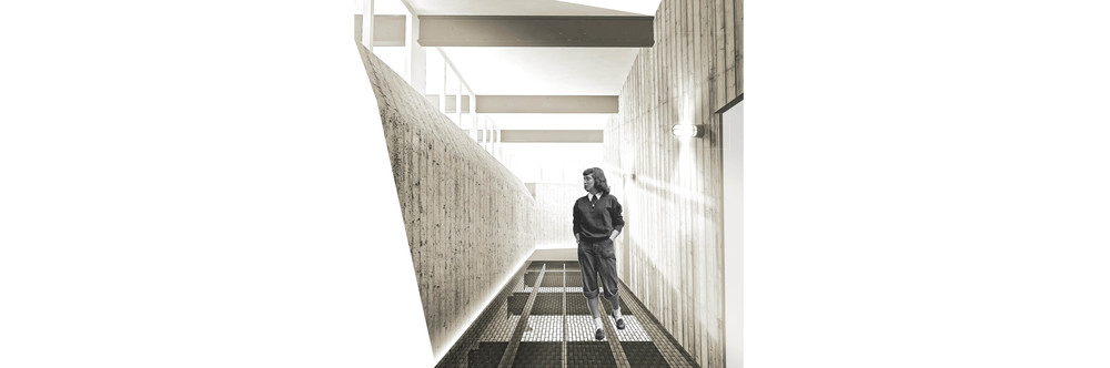 perspective: farmer-chef residence hallway