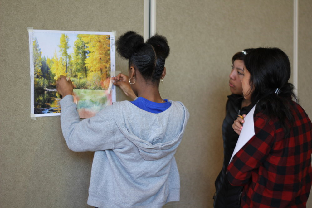 Lab Day focused on Camouflage. The girls  worked with their mentor in painting a piece of fabric to blend into the scenic picture.