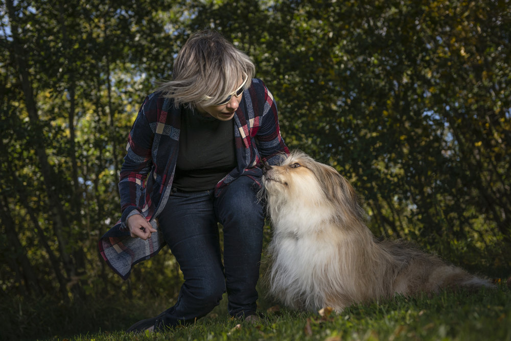 Fuzzy dog with her dog mom in Edmonton