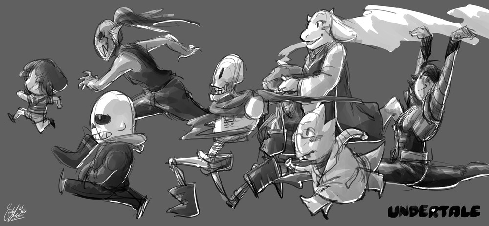 undertale - run b&w sketch.jpg
