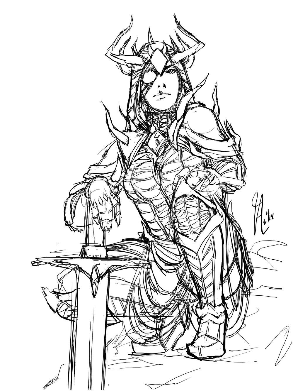 MH armor - horned armor b&w.jpg