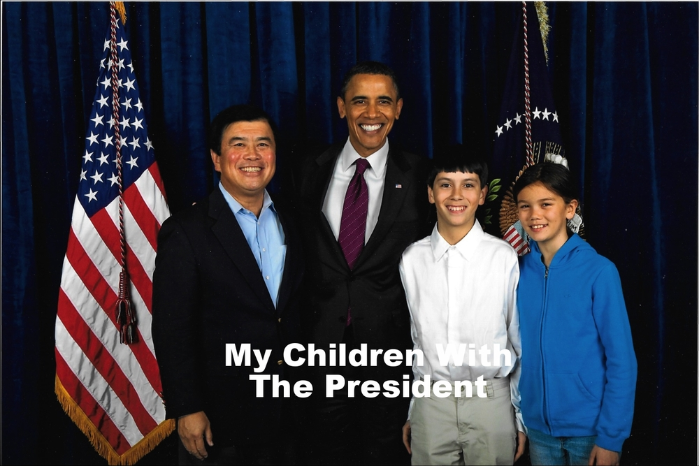 David Wu with his children and President Obama