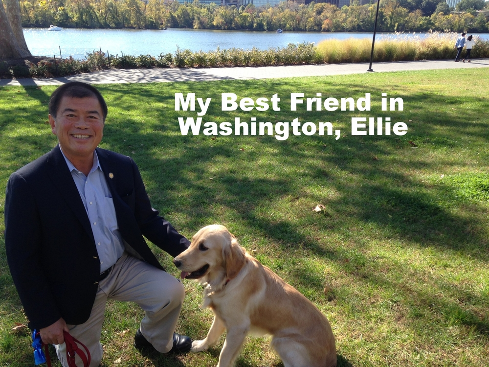 David Wu with his best friend in Washington, Ellie