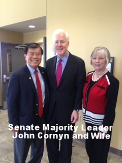 David Wu with Senate Majority Leader John Cornyn and Wife