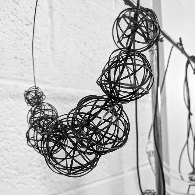 NRK Style Ball necklace.  #nrkstyle #necklace #statementnecklace  #industrialjewlery #edgyjewelry #geometricfashion #accessories #handmadejewelry #madeintheusa #birminghammishopping #birminghammi #fashionistas #designerclothingboutique