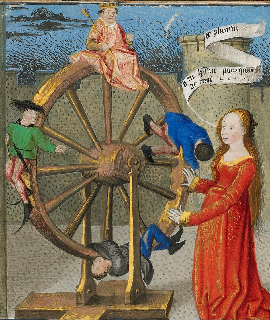 Fortune and her Wheel, Medieval illustration.