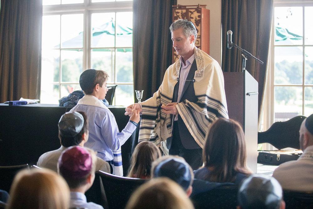 Cantor Abramowitz officiates a Bar Mitzvah