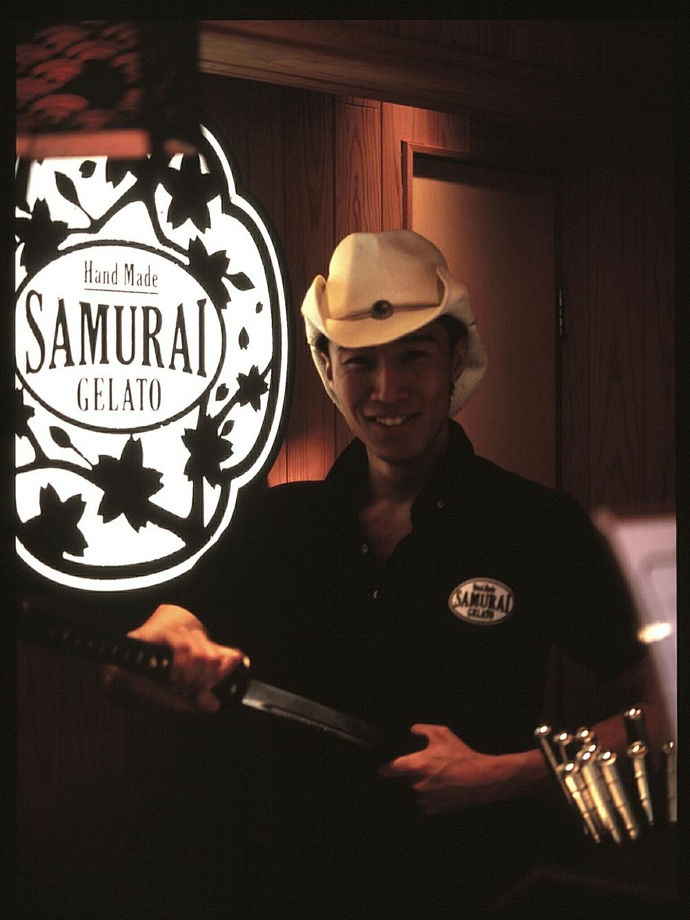 Samurai Gelato ice cream shop, Tenjin, Fukuoka (Mamiya 645 Velvia 100)
