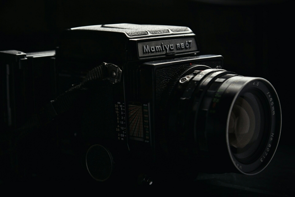 Mamiya RB67 SD with 65mm lens and Polaroid back