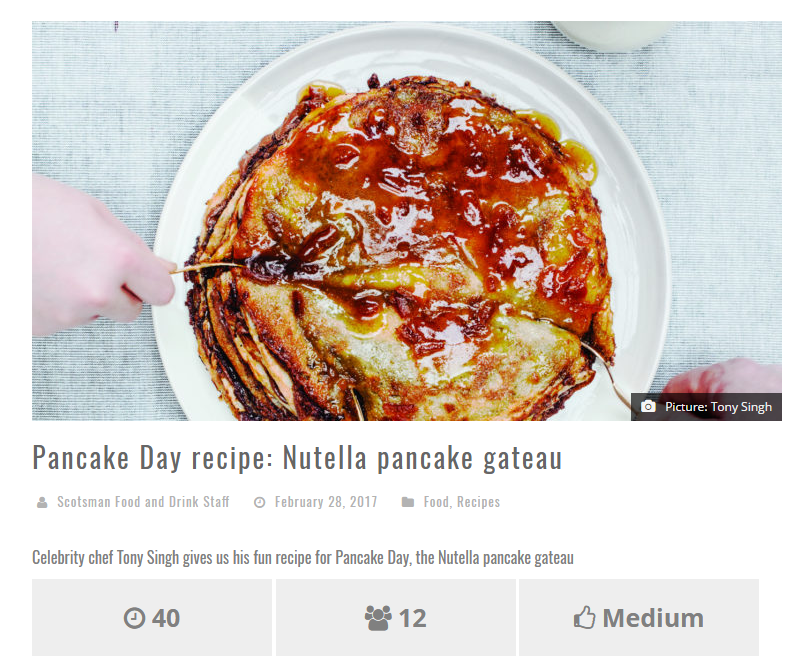 Tony's Pancake Gateau Recipe in Scotsman Food & Drink