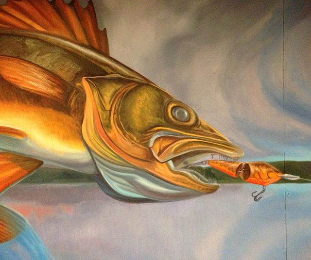"""Walleyes don't jump."" -anonymous Minnesotan art critic. . Detail of oil on panel, 4'x21'"