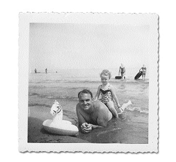 Martha and her father, James, at Cedar Point, Ohio, in 1954