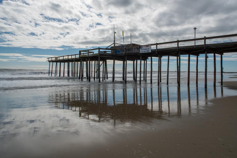 Storm-damaged pier, Ocean City, Maryland