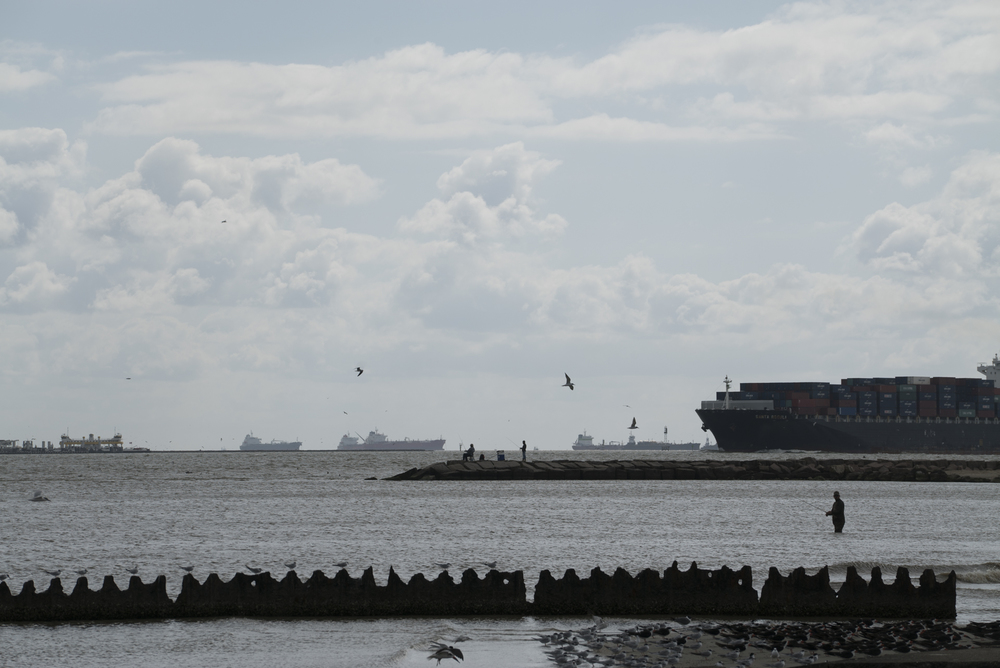 Shipping traffic heads into Galveston Bay near Texas City, Texas.