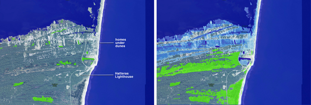Buxton, North Carolina, on Hatteras Island. Today at left, and after 5 feet SLR at right. Light blue is under water; bright green indicated emergent marshlands. The dynamics of the barrier island naturally want to move sand west and south.