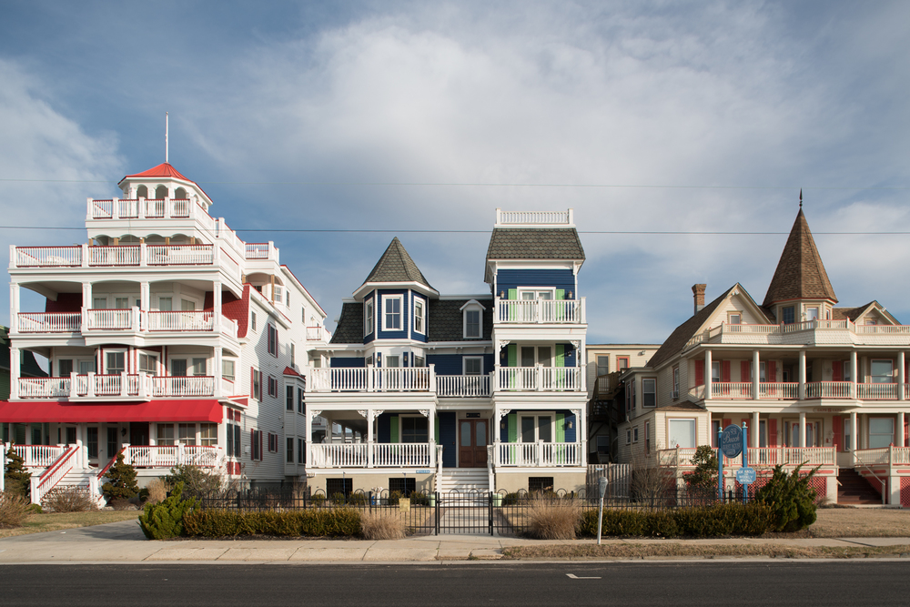 Oceanfront victorian homes in Cape May, New Jersey