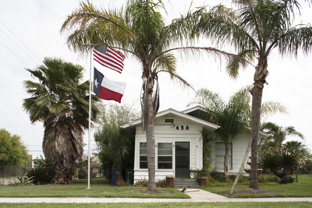 Flags fly proudly in Freeport, Texas.