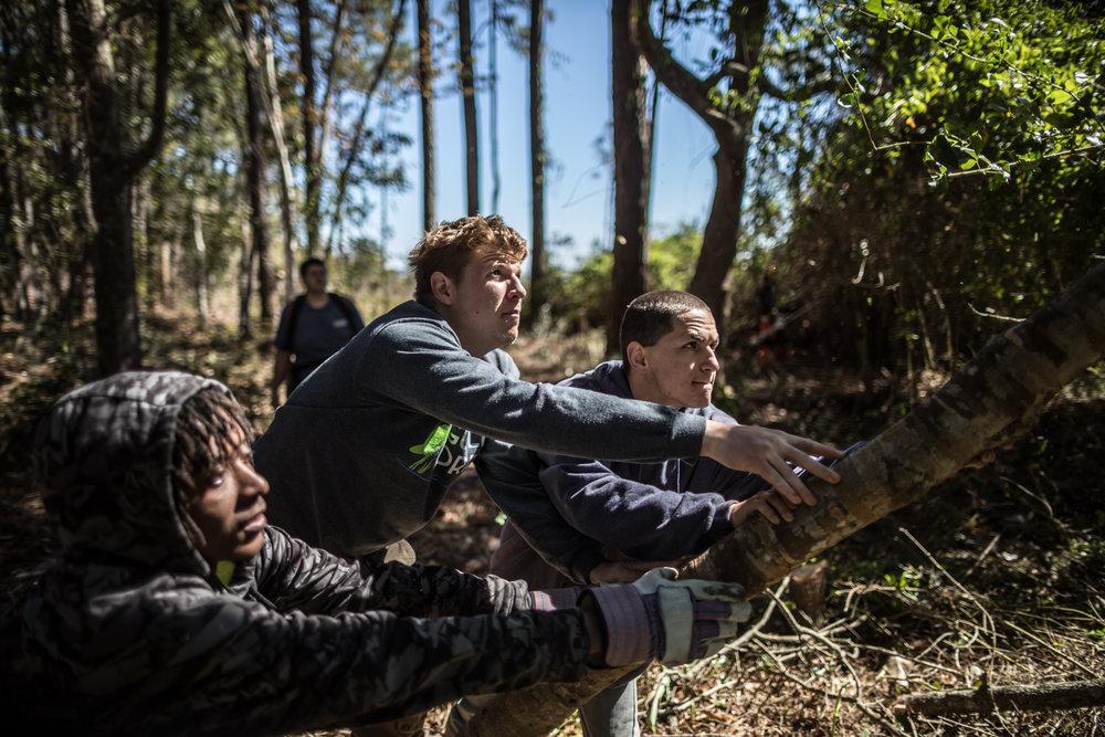 "A GulfCorp team clears undergrowth on Florida's ""Forgotten Coast"" near Apalachicola."
