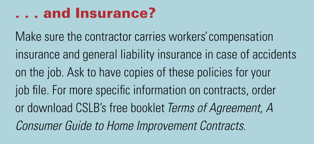 A section from California State Licensing Board's pamplet   Tips for Hiring a Roofing Contractor.
