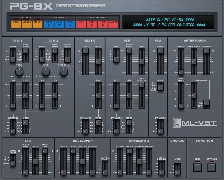Free Roland JX-8P Emulation Plug-in - AU And VST - Wrapper