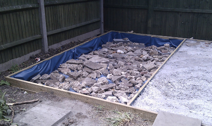 The drum room side of the slab base ready for filling with concrete.