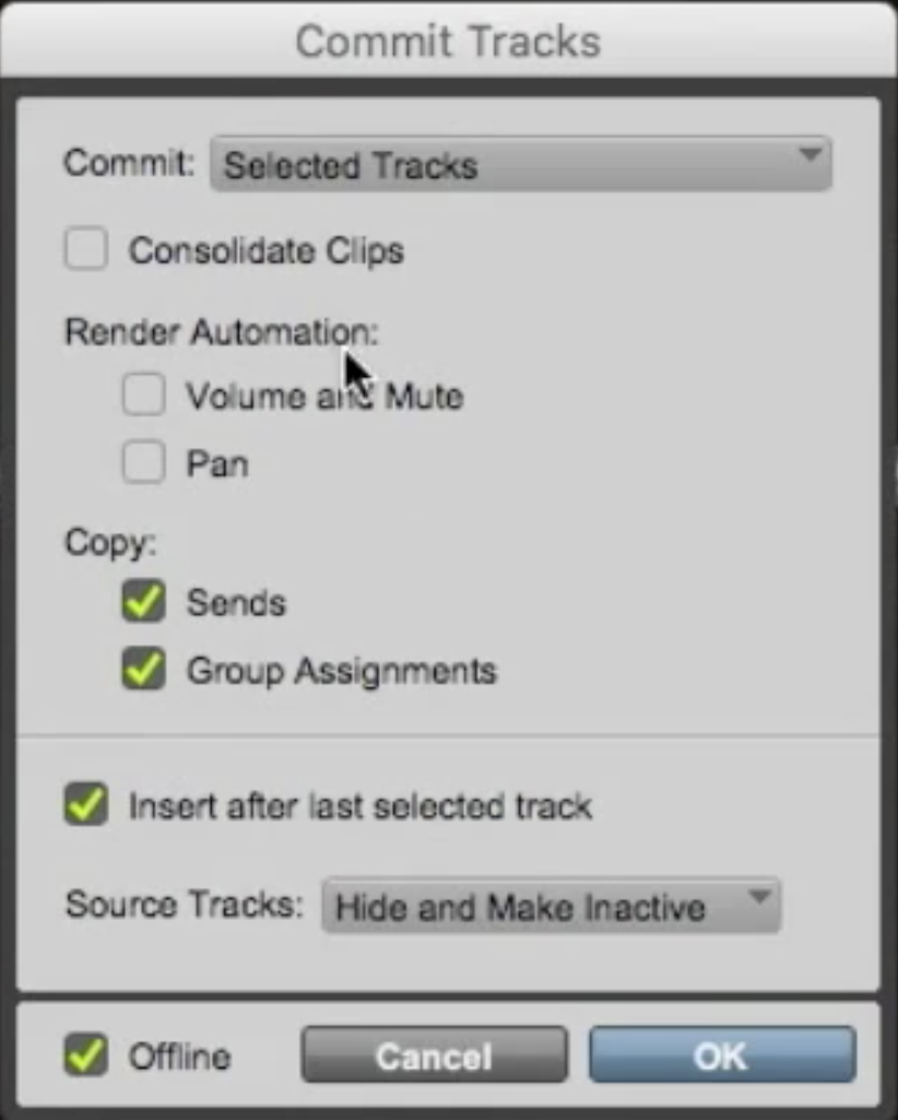 Commit Track Dialog Box