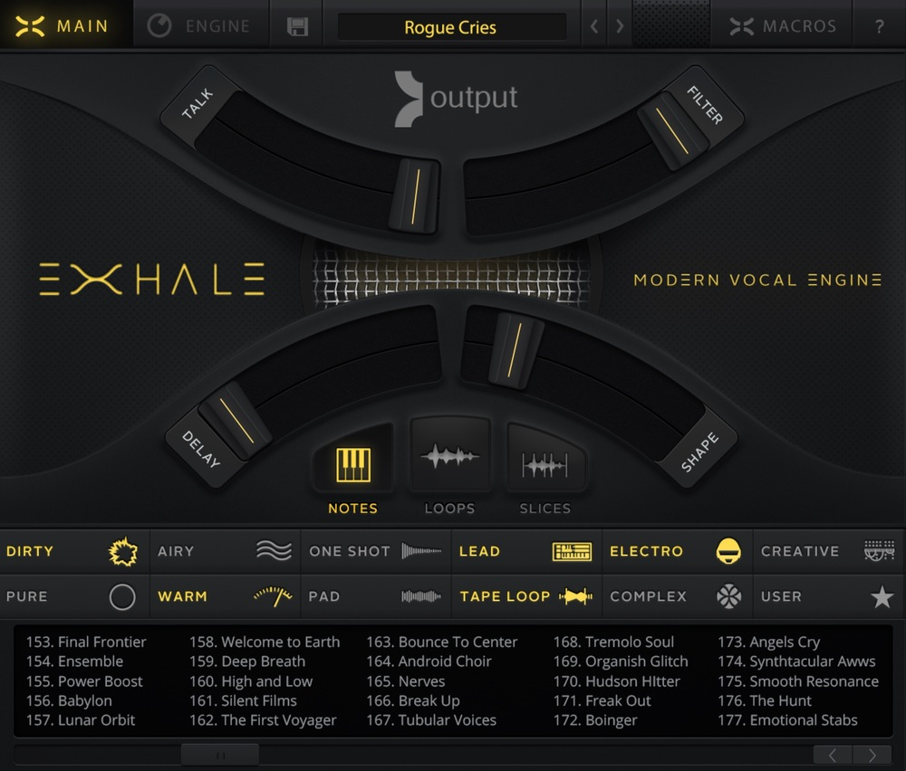 The main Exhale GUI
