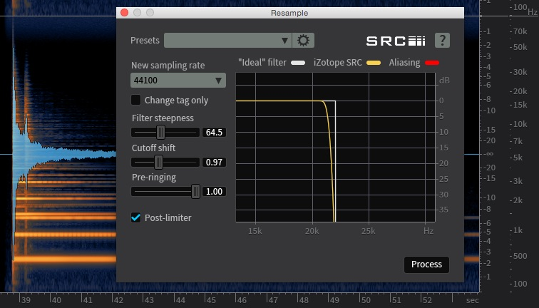 The Resample module in iZotope RX5 Advanced showing the steep filters required to prevent alaising artifacts