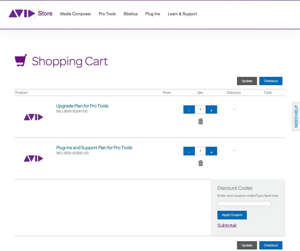 This is an example of items in your your shopping cart in the Avid Store ready to buy again with prices and currencies removed.