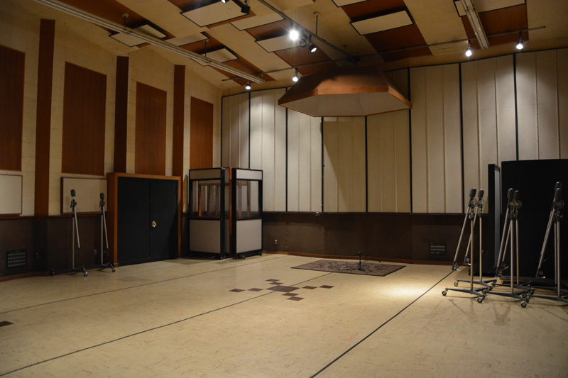 Studio A with a selection of gobos and the flying drumbrella.